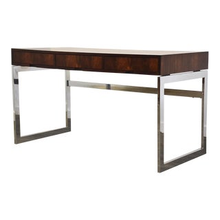 Rosewood & Chrome MCM Desk For Sale