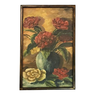 L. Bobera 'Still Life' Signed Original Oil Painting on Canvas With Frame C1951 For Sale