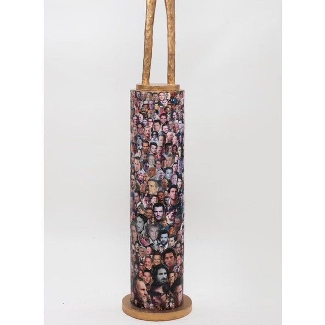 """American 80"""" Tall Modern Art Sculpture with Decoupage Pedestal Base - Pat Epstein (American, 1924-2015) For Sale - Image 3 of 4"""