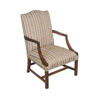 Chippendale Style Vintage Custom Mahogany Martha Washington Arm Chair For Sale