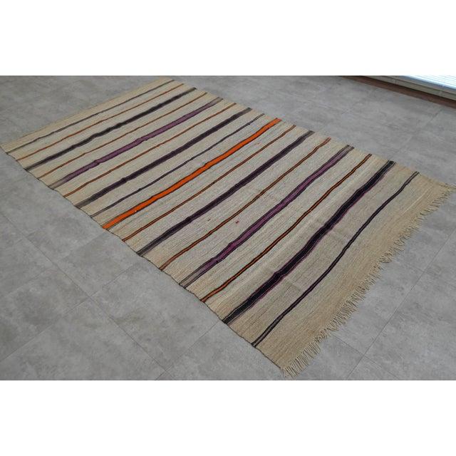 Vintage Natural Turkish Wool Stripe Kilim Rug - 4′6″ × 7′8″ - Image 2 of 9