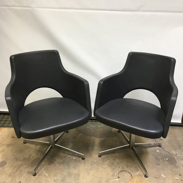 ICF Group Mid-Century Style Swivel Chairs - a Pair For Sale - Image 10 of 10