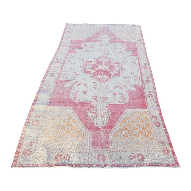 """Distressed Red and Yellow Turkish Rug 4'1"""" X 8'6"""" For Sale"""