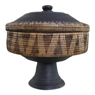 Mid-Century Indonesian Handwoven Grass and Wood Pedestal Bowl With Lid For Sale