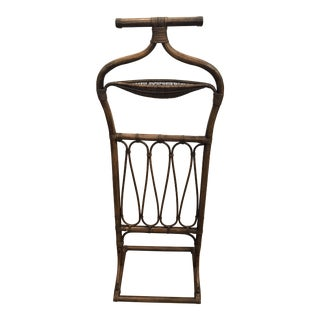 Boho Chic Rattan and Wicker Valet Butler For Sale