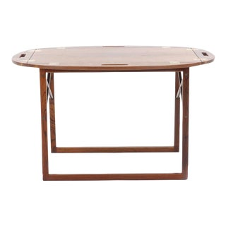 Rosewood and Brass Tray / Butlers Table by Svend Langkilde for Illums Bolighus For Sale