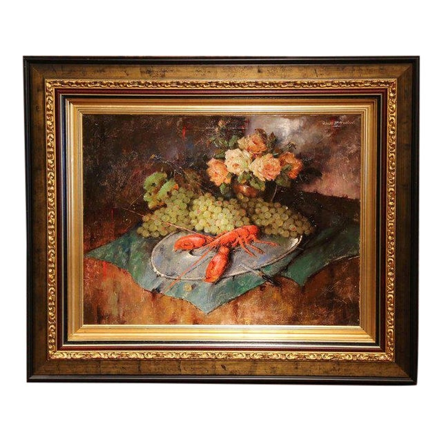 Carl Fischer (Artist) Important 20th Century Still Life Oil Painting With Lobster Signed Carl Fischer Circa 1920 For Sale