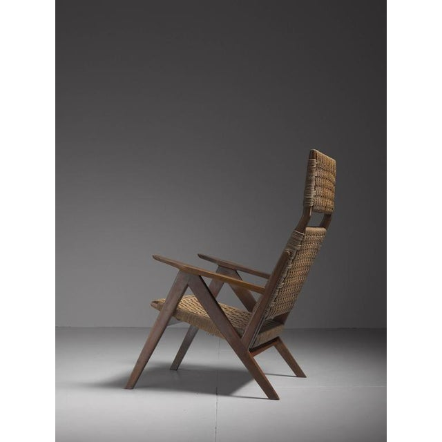 Georg Jensen High Back Mahogany and Rope Lounge Chair, 1967s For Sale - Image 4 of 6