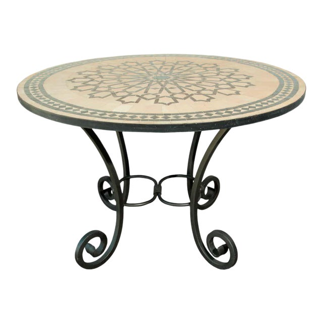 Moroccan Mosaic Outdoor Tile Table in Fez Moorish Design For Sale