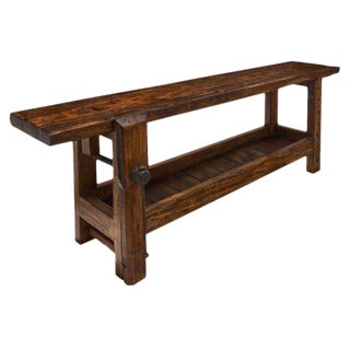 Antique French Chestnut Carpenter's Bench For Sale