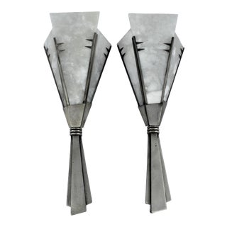 Mid-Century Modern Antique Silver Finish Alabaster Sconces in the Style of Dominic - a Pair For Sale