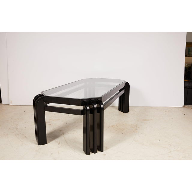 Mid 20th Century Vintage Black Lacquer Cocktail Table With a Wired Glass Top For Sale - Image 5 of 13