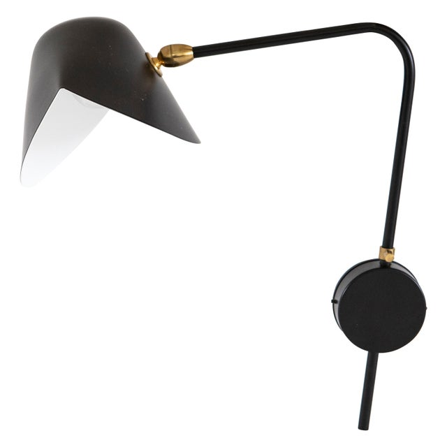 Single Arm Antony Sconce by Serge Mouille in Black For Sale In Seattle - Image 6 of 6
