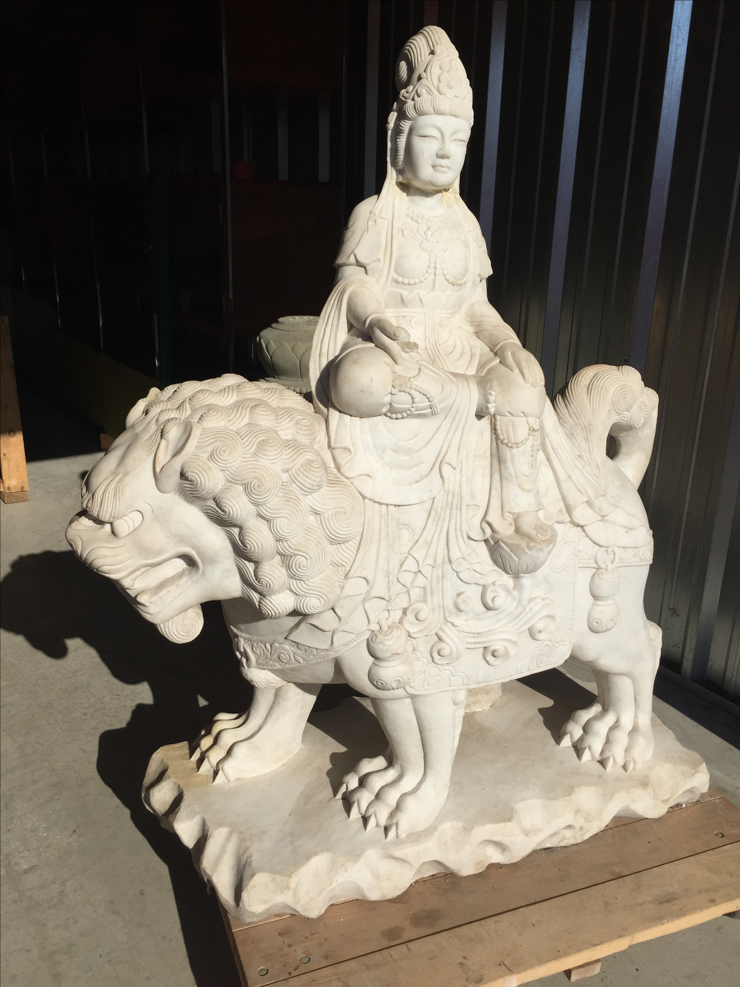 Antique Chinese Quan Yin Carved Garden Statue   Image 2 Of 11