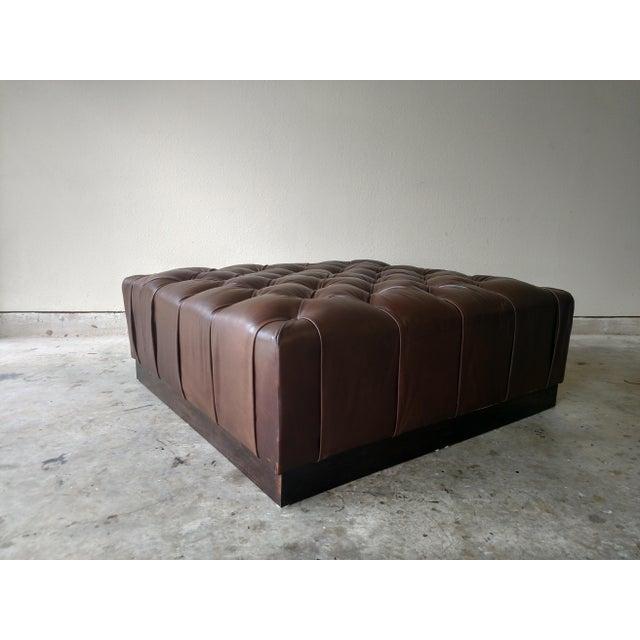 Gambrell Renard Tufted Esspresso Leather Ottoman - Image 4 of 4