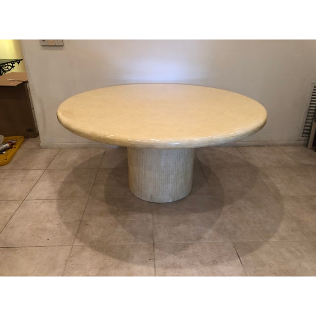 Modern Tessellated Bone Mosaic Round Dining Table For Sale - Image 11 of 11