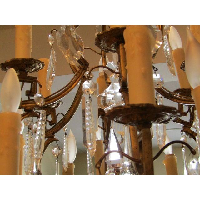 Antique Gold Metal Crystal Chandelier - Image 3 of 6