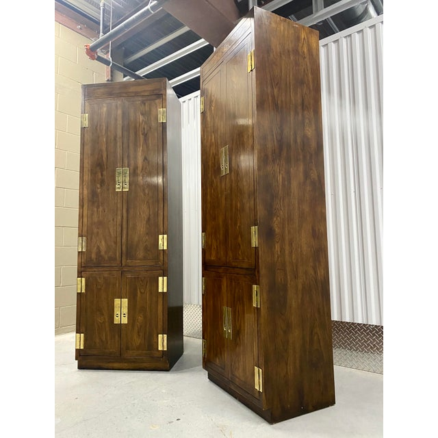 Campaign Vintage Henredon Campaign Chifforobe- a Pair For Sale - Image 3 of 11
