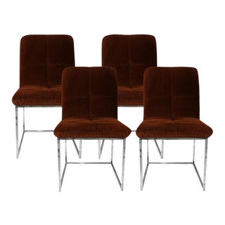 Mid-Century Cal Style Furniture Chrome Dining Chairs - Set of 4