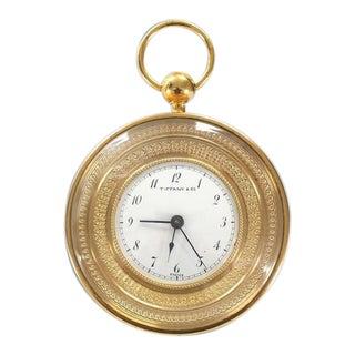 Vintage Mid Century Tiffany Vintage Bronze Travel Alarm Clock For Sale