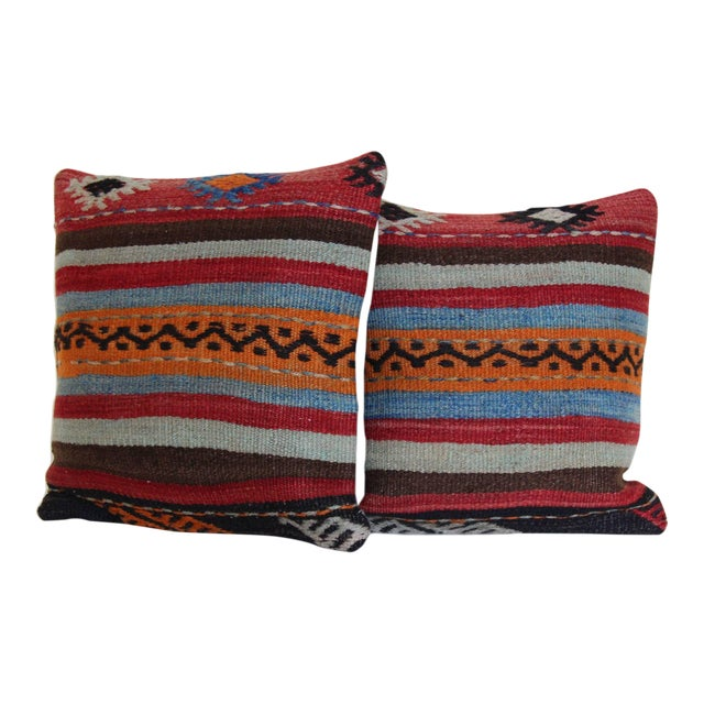 Turkish Kilim Rug Pillows - a Pair For Sale