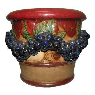 Vintage Italian Majolica Ceramic Planter For Sale