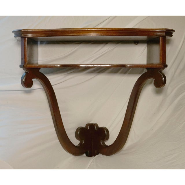 Wood Mahogany Vintage Hanging Wall Mount Scalloped Bracket Console For Sale - Image 7 of 10