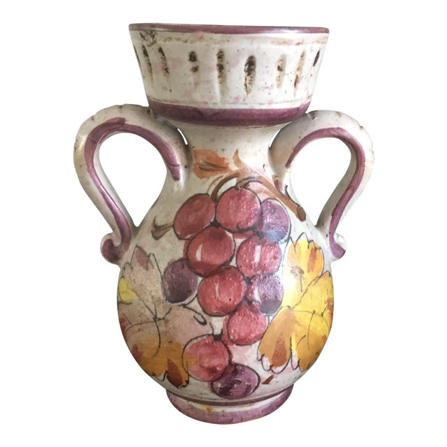 Vintage Italian Mid Century Modern Hand Painted Grape Ceramic Confit Jar Pottery For Sale