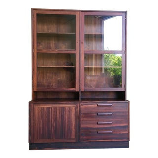 Swedish Rosewood Credenza With Glass Front Cabinet For Sale