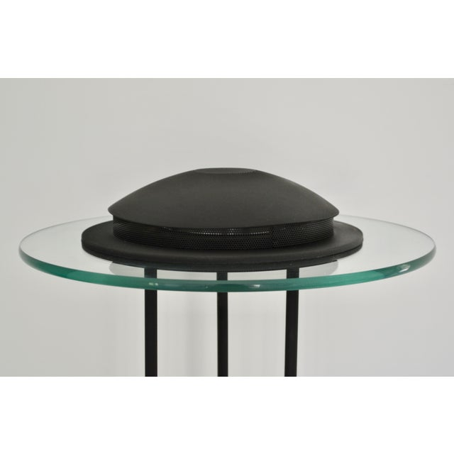 Postmodern Matte Black Table Lamp With Glass Disk For Sale - Image 4 of 10