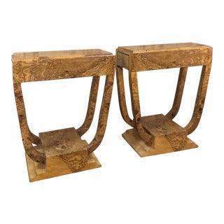 Pair Art Deco Burl Walnut End Tables For Sale