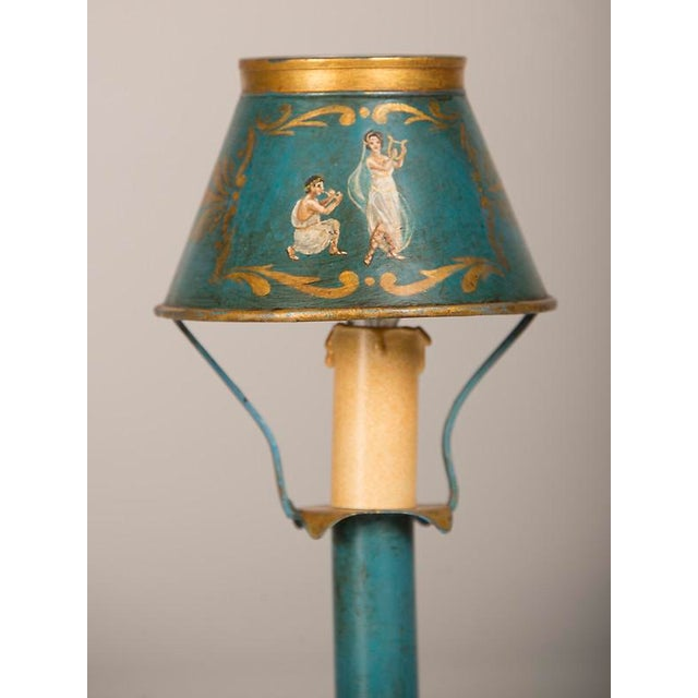 Fresco A rare Louis XVI style hand painted tôle lamp from France c. 1840 wired for American electricity For Sale - Image 7 of 9