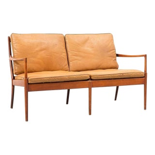 Carmel Leather Settee by Ib Kofod Larssen for Ope, Sweden, 1960s For Sale