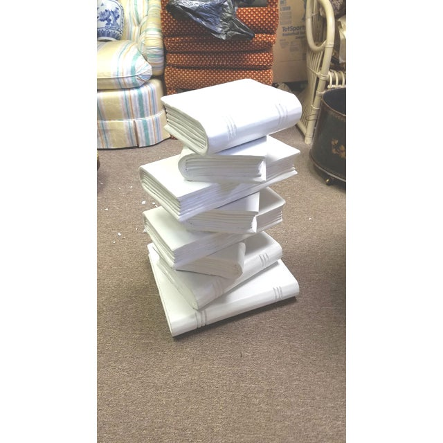 Modern Trompe l'Oeil Stacked Library Book End Table For Sale - Image 4 of 4