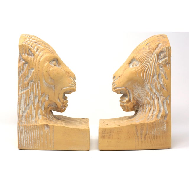 Vintage Hand Carved Lion Head Bookends For Sale - Image 4 of 10