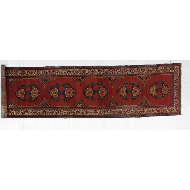 Wool pile genuine handmade very fine antique Persian Mishan Malayer runner in excellent condition. The piece was made in...