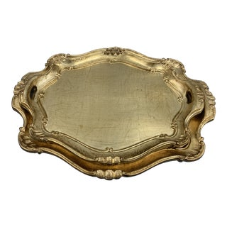 Vintage Legno Florentine Gold Painted Trays - a Pair For Sale