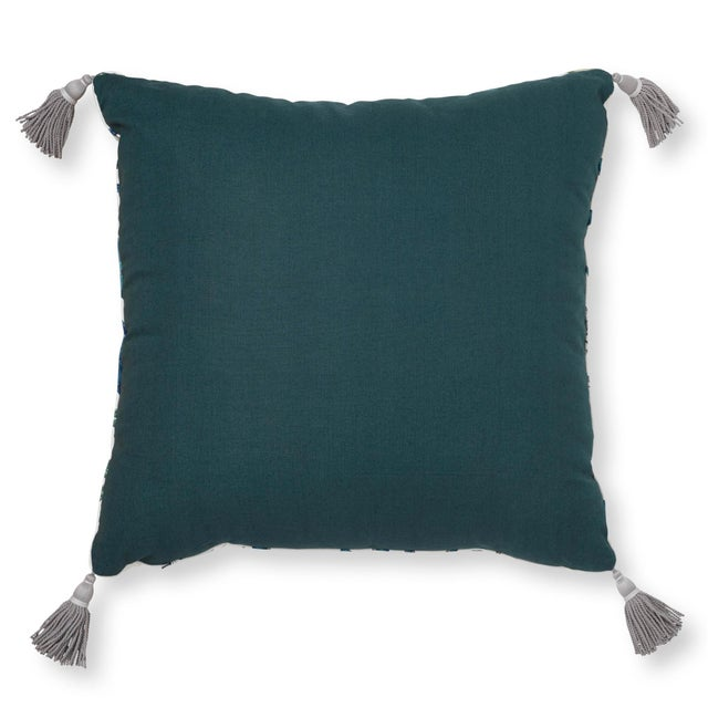 """Contemporary Schumacher Charlap Hyman & Herrero 31"""" Square Giove Pillow With Tassels in Emerald Sapphire For Sale - Image 3 of 7"""