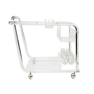 Lucite & Chrome Bar Cart For Sale