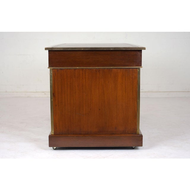 Antique English Campaign Pedestal Desk For Sale In Los Angeles - Image 6 of 13