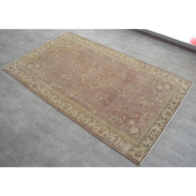 Vintage Turkish Hand Knotted Area Rug Distressed and Faded Colors - 5′1″ × 8′4″ For Sale - Image 9 of 9