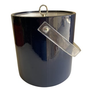 Navy Blue Vinyl & Acrylic Ice Bucket For Sale