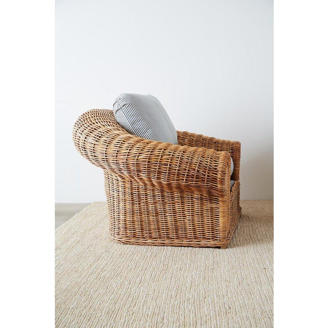 Michael Taylor Style Wicker Lounge Chairs With Ottoman For Sale - Image 9 of 13