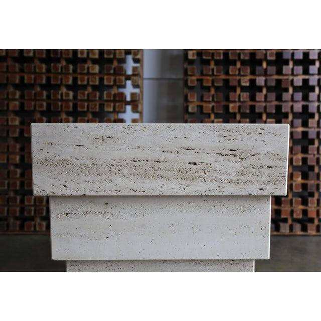 Sculptural Modernist Travertine Pedestal For Sale - Image 4 of 8