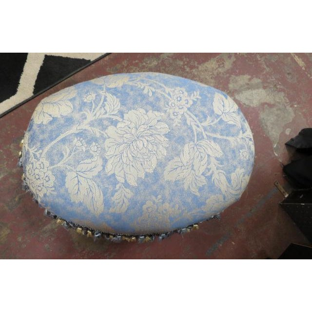 Traditional 1930s Antique Carved Walnut Oval Footstool For Sale - Image 3 of 6