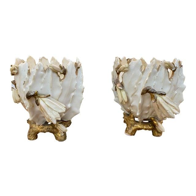 19th Century French Porcelain Cache Pots - a Pair For Sale