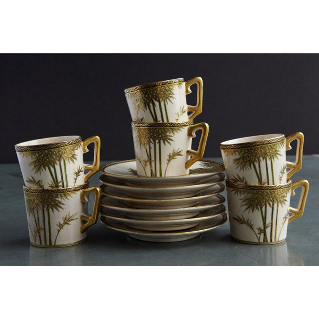 Art Deco Japanese Hand Painted and Gilded Demitasse Coffee Service, New in Box, 1930s For Sale - Image 3 of 13