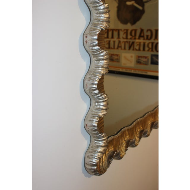 Large Florentine Wall Mirror Gold and Silver Leaf Scalloped Wood Frame Hollywood Regency Style 1930s from a Palm Beach estate
