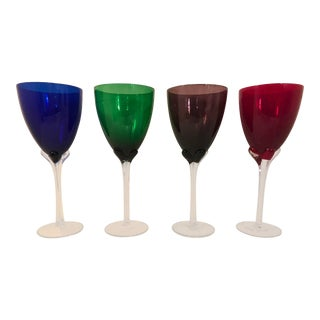 1980s Contemporary Mixed Colored Lenox Stemware Glass Goblets - Set of 4 For Sale