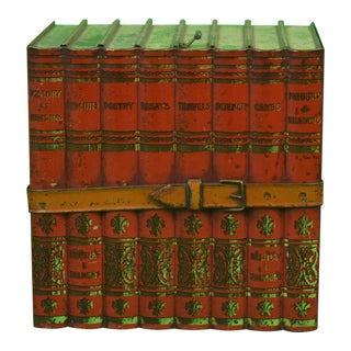 1930s English Traditional Volume Book Tin Caddy For Sale